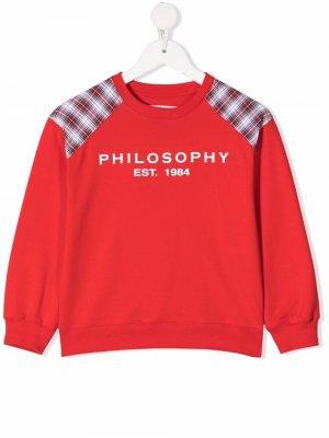 Check-print logo-print sweatshirt Philosophy Di Lorenzo Serafini Kids. Цвет: красный