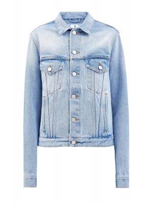 Джинсовая куртка с выбеленным эффектом и вышивкой OFF-WHITE. Цвет: голубой
