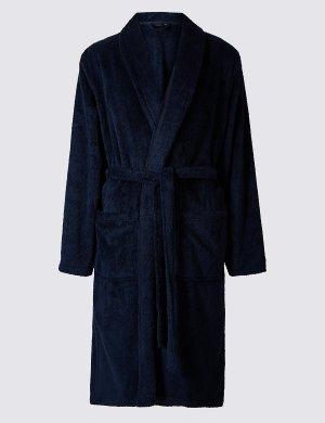 Халат флисовый с поясом M&S Collection. Цвет: темно-синий