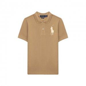 Хлопковое поло Polo Ralph Lauren. Цвет: бежевый
