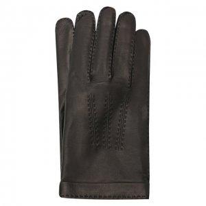 Кожаные перчатки Cortigiani. Цвет: чёрный