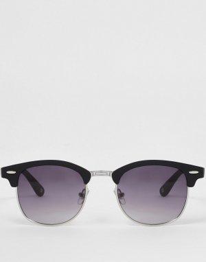 Солнцезащитные очки черного матового цвета в стиле ретро -Черный цвет River Island
