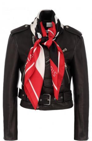 Кожаная куртка с косой молнией и шарфом Balenciaga. Цвет: черный