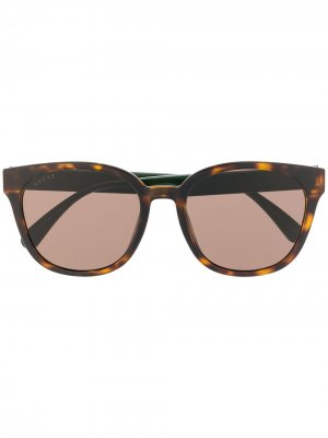 Солнцезащитные очки в квадратной оправе с отделкой Web Gucci Eyewear. Цвет: коричневый