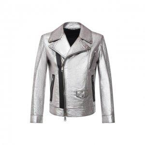 Кожаная куртка Dolce & Gabbana. Цвет: серебряный