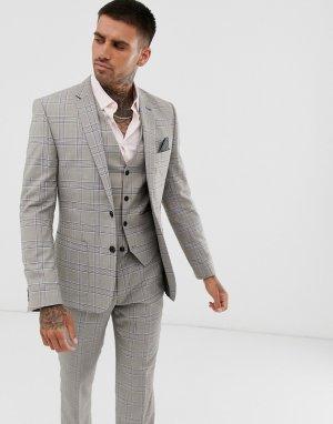 Светло-серый узкий пиджак в клетку Harry Brown