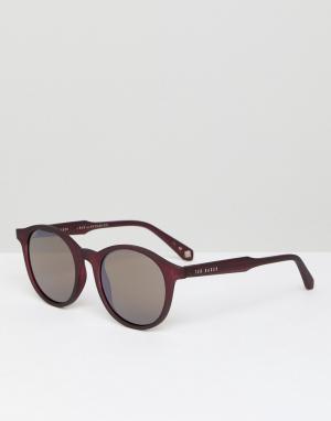 Бордовые круглые солнцезащитные очки TB1503 200 Odell Ted Baker. Цвет: красный