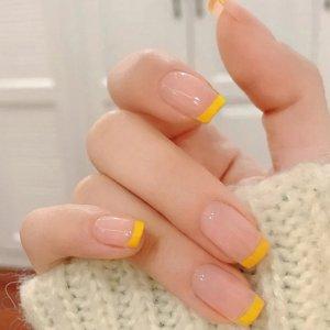 24шт прозрачные накладные ногти и двухсторонняя лента SHEIN. Цвет: многоцветный