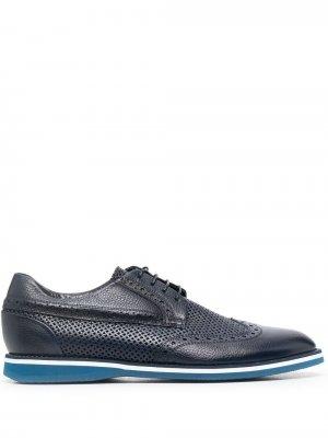 Туфли на шнуровке с брогированием Baldinini. Цвет: синий