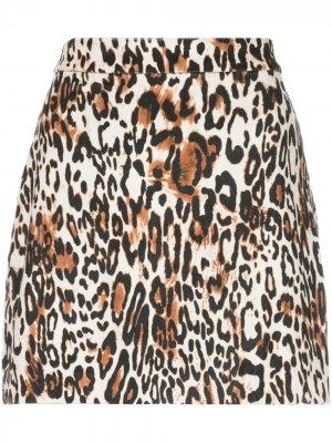 Юбка мини с леопардовым принтом Milly. Цвет: черный