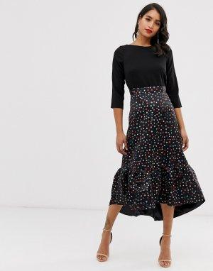 Платье 2 в 1 с оборкой по нижнему краю Closet-Черный Closet London