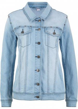 Куртка из денима стрейч с заклепками bonprix. Цвет: синий