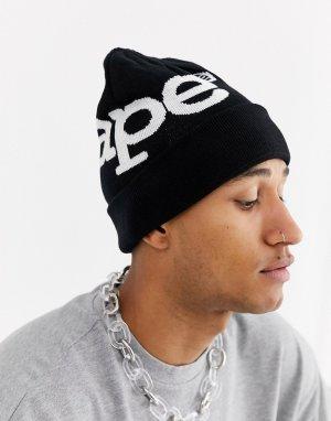 Черная шапка-бини с большим логотипом AAPE By A Bathing Ape. Цвет: черный