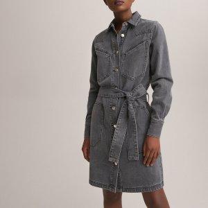 Платье-рубашка LaRedoute. Цвет: серый