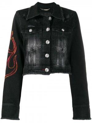 Джинсовая куртка Flame Philipp Plein. Цвет: черный