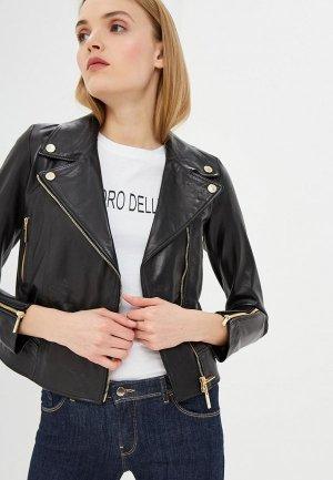 Куртка кожаная Alessandro DellAcqua Dell'Acqua. Цвет: черный