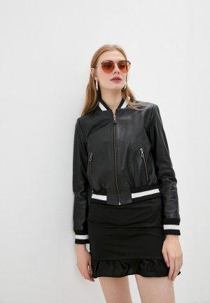 Куртка кожаная Giorgio Di Mare. Цвет: черный