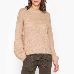 Пуловер с круглым вырезом из тонкого трикотажа OKALA BA&SH. Цвет: бежевый