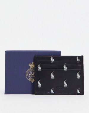 Черный кожаный кошелек для пластиковых карт со сплошным принтом с логотипами -Черный цвет Polo Ralph Lauren