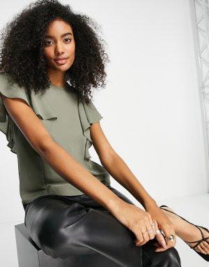 Блузка цвета хаки с высоким воротом и оборками на рукавах -Зеленый цвет ASOS DESIGN