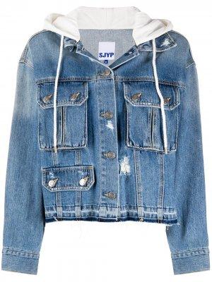 Джинсовая куртка с капюшоном SJYP. Цвет: синий