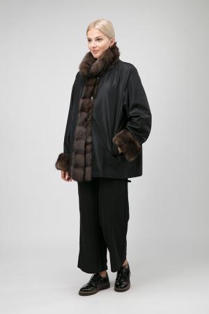 Модное двустороннее короткое пальто на меху Santini. Цвет: черный