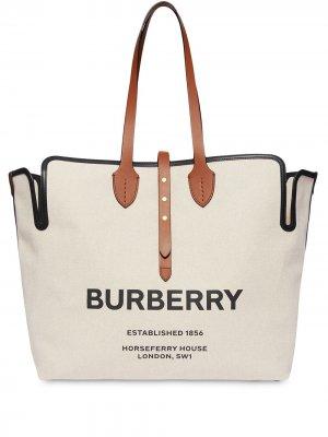 Большая сумка-тоут с логотипом Burberry. Цвет: нейтральные цвета