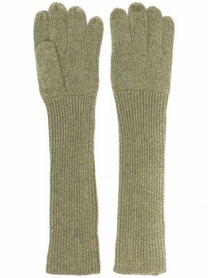 Кашемировые перчатки в рубчик Aspesi. Цвет: зеленый
