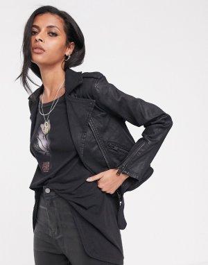 Байкерская джинсовая куртка с покрытием micah-Черный AllSaints
