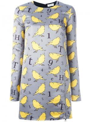 Платье с принтом птиц Au Jour Le. Цвет: серый