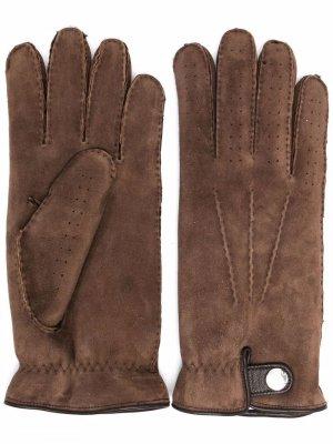 Перчатки с кнопками Brunello Cucinelli. Цвет: коричневый