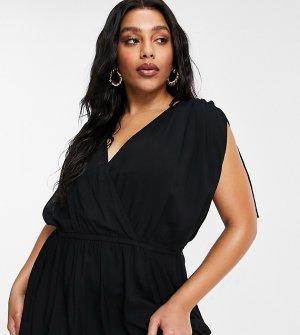 Черное пляжное платье макси из переработанных материалов со сборками ASOS DESIGN Curve-Черный цвет Curve