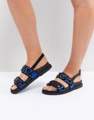Декорированные сандалии ASOS FERRIS DESIGN. Цвет: синий