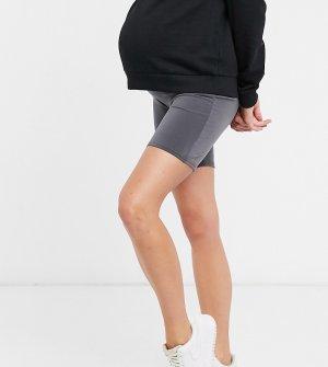 Темно-серые облегающие шорты от комплекта Club L London Maternity-Серый Maternity