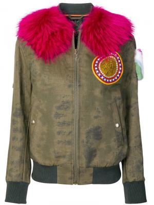 Куртка-бомбер с меховой отделкой и заплаткой на рукаве Mr & Mrs Italy
