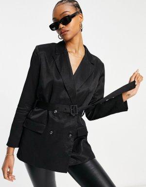 Черный пиджак с поясом (от комплекта) Carena-Черный цвет French Connection
