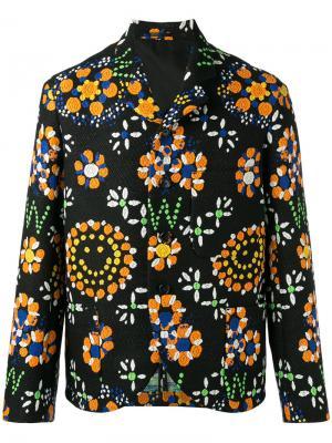 Блейзер с цветочной вышивкой Walter Van Beirendonck. Цвет: чёрный