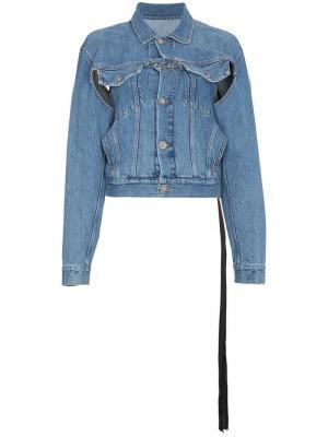 Джинсовая куртка с принтом змеи и прорванной деталью Unravel Project