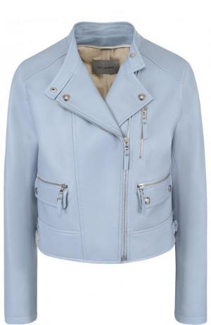 Укороченная кожаная куртка с косой молнией Yves Salomon. Цвет: голубой