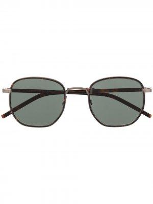 Солнцезащитные очки в круглой оправе Tommy Hilfiger. Цвет: коричневый