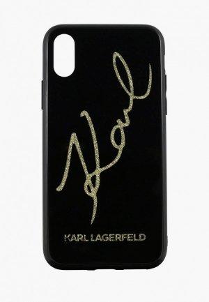 Чехол для iPhone Karl Lagerfeld X / XS, Double Layer signature Glitter Black. Цвет: черный