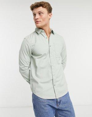 Саржевая рубашка с длинными рукавами цвета светлый хаки -Зеленый цвет New Look