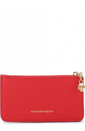 Кожаный футляр для кредитных карт с отделением на молнии Alexander McQueen. Цвет: красный