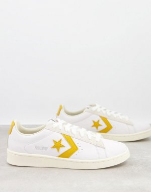 Белые кожаные кроссовки с золотистыми вставками Pro-Белый Converse