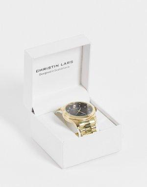 Золотистые женские часы с черным циферблатом -Золотистый Christin Lars