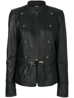 Кожаная куртка на молнии с декоративными пуговицами Just Cavalli. Цвет: чёрный