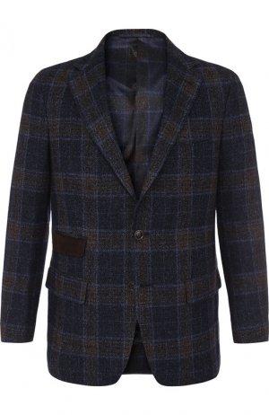 Однобортный пиджак из смеси шерсти и льна с шелком Andrea Campagna. Цвет: коричневый