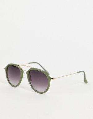 Зеленые солнцезащитные очки-авиаторы в стиле унисекс -Зеленый цвет AJ Morgan