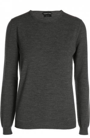 Шерстяной пуловер Tom Ford. Цвет: серый