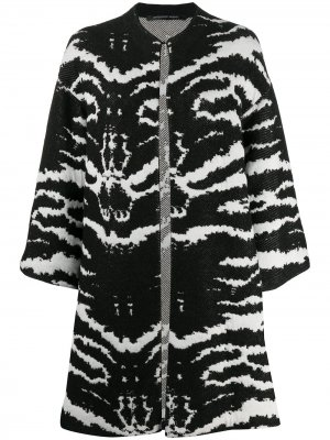 Пальто миди с анималистичным принтом Antonino Valenti. Цвет: белый